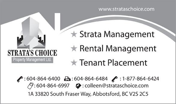 Strata's Choice Property Management Ltd (604-864-6400) - Annonce illustrée======= -