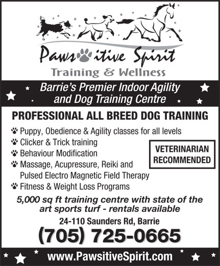 Pawsitive Spirit (705-725-0665) - Display Ad - Barrie s Premier Indoor Agility and Dog Training Centre PROFESSIONAL ALL BREED DOG TRAINING Puppy, Obedience & Agility classes for all levels Clicker & Trick training VETERINARIAN Behaviour Modification RECOMMENDED Massage, Acupressure, Reiki and Pulsed Electro Magnetic Field Therapy Fitness & Weight Loss Programs 5,000 sq ft training centre with state of the art sports turf - rentals available 24-110 Saunders Rd, Barrie 705 725-0665 www.PawsitiveSpirit.com