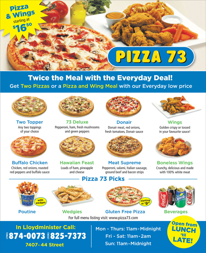 Pizza 73 (306-825-7373) - Display Ad -
