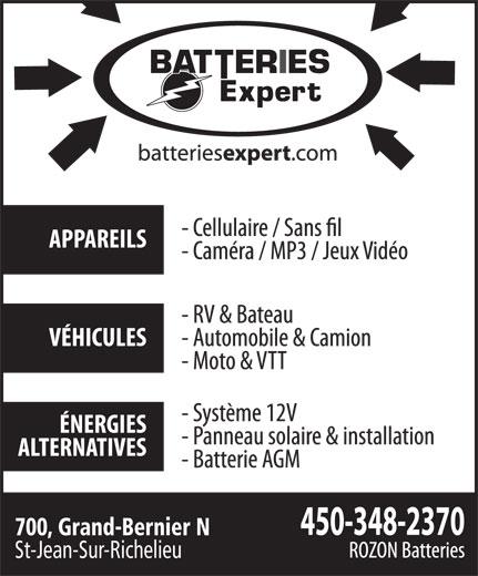 Batteries Expert (450-348-2370) - Annonce illustrée======= - St-Jean-Sur-Richelieu 700, Grand-Bernier N