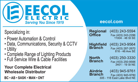 EECOL Electric (403-243-5594) - Display Ad -