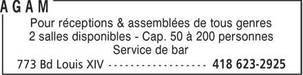 Centre de quilles Trait-Carré AGAM (418-623-2925) - Annonce illustrée======= - 2 salles disponibles - Cap. 50 à 200 personnes Service de bar Pour réceptions & assemblées de tous genres