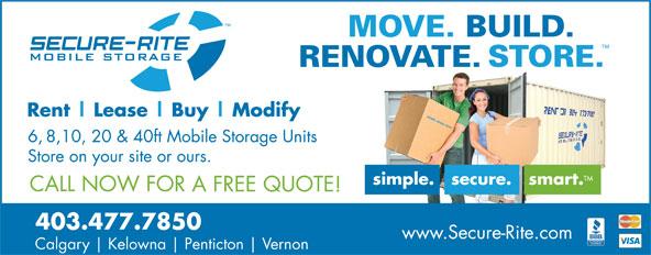 Secure-Rite Mobile Storage (403-477-7850) - Display Ad - 403.477.7850 Calgary Kelowna Penticton Vernon