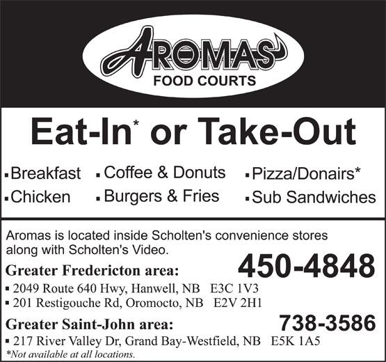 Aromas Food Courts (506-450-4848) - Display Ad -