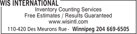WIS International (204-669-6505) - Display Ad - Inventory Counting Services Free Estimates / Results Guaranteed www.wisintl.com