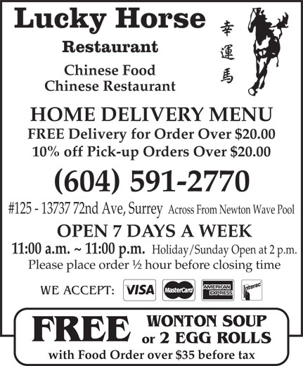 Lucky Horse Chinese Restaurant Surrey Bc
