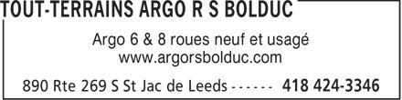 Tout-Terrains Argo R S Bolduc (418-424-3346) - Annonce illustrée======= - Argo 6 & 8 roues neuf et usagé www.argorsbolduc.com