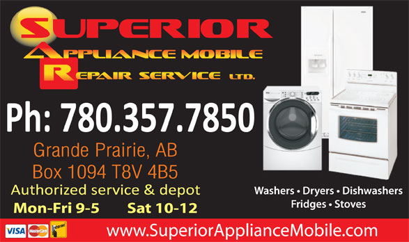 Superior Appliance Mobile Repair Service Ltd (780-532-4433) - Display Ad - Ph: 780.357.7850 Mon-Fri 9-5        Sat 10-12 www.SuperiorApplianceMobile.com