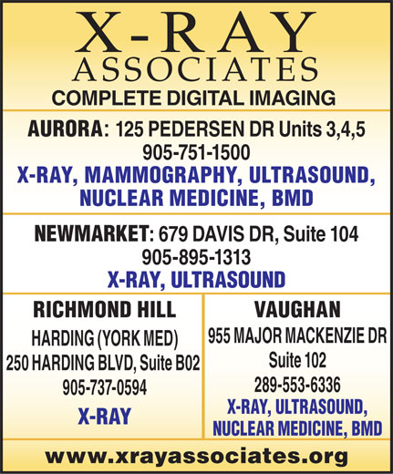 X-Ray Associates (289-553-6336) - Display Ad -