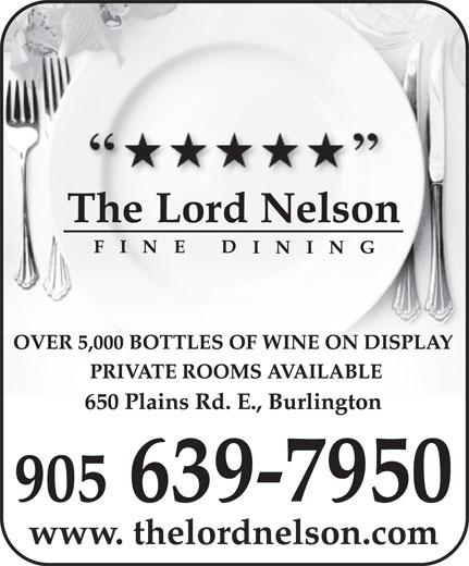 Lord Nelson Fine Dining (905-639-7950) - Annonce illustrée======= -