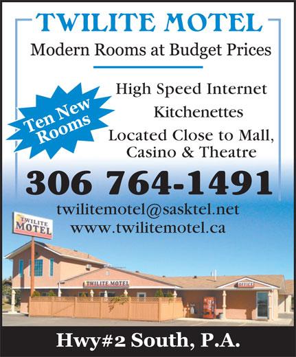 Twilite Motel (306-764-1491) - Display Ad - High Speed Internet Located Close to Mall, Casino & Theatre 306 764-1491 twilitemotel sasktel.net www.twilitemotel.ca Kitchenettes