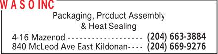 W A S O Inc (204-669-9276) - Annonce illustrée======= - Packaging, Product Assembly & Heat Sealing  Packaging, Product Assembly & Heat Sealing