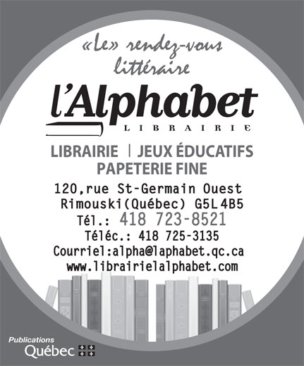 Ads Librairie L'Alphabet Inc - Télécopieur