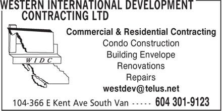 Western International Development Contracting Ltd (604-301-9123) - Annonce illustrée======= -