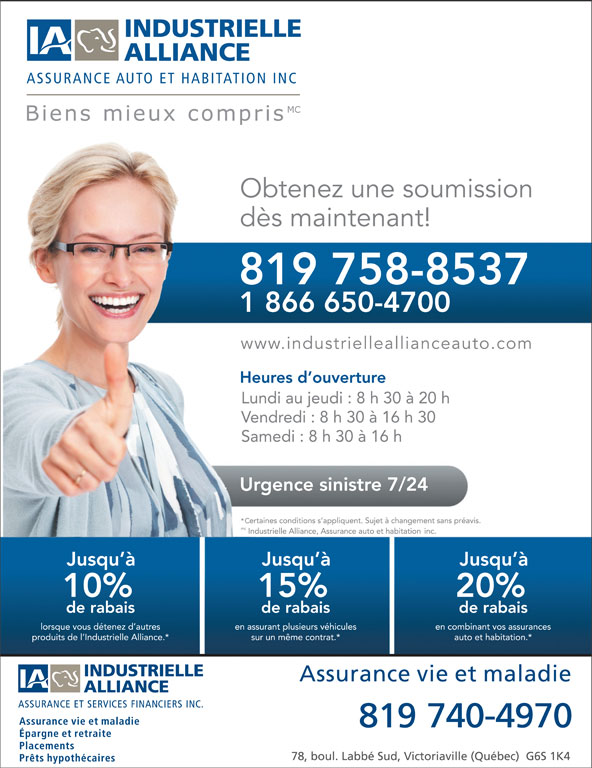 Industrielle Alliance Assureance et Services Financiers Inc (819-758-8537) - Annonce illustrée======= -