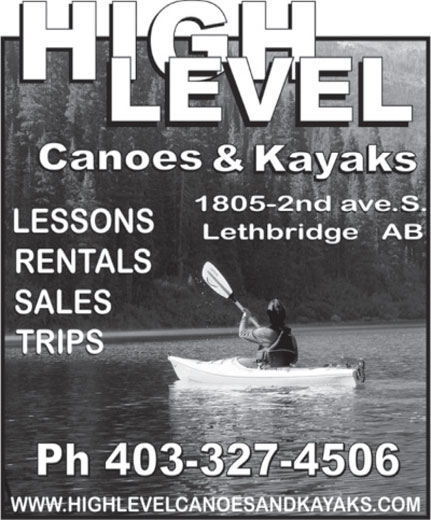 High Level Canoes and Kayaks (403-327-4506) - Annonce illustrée======= -