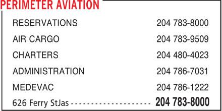 Perimeter Aviation (204-783-8000) - Annonce illustrée======= -