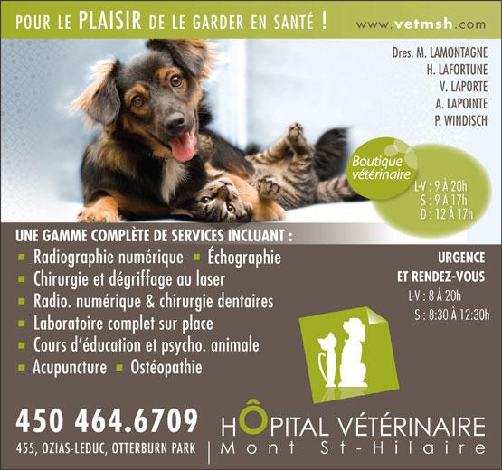 Hopital Vétérinaire Mont St-Hilaire (450-464-6709) - Display Ad - www. vetmsh .com POURLEPLAISIR DELEGARDERENSANTÉ! Dres. M. LAMONTAGNE H. LAFORTUNE V. LAPORTE A. LAPOINTE P. WINDISCH L-V : 9 À 20hL-V : 9 À 20h S : 9 À 17h7hS : 9 À 1 D : 12 À 17h UNE GAMME COMPLÈTE DE SERVICES INCLUANT : URGENCE Radiographie numérique Échographie ET RENDEZ-VOUS Chirurgie et dégriffage au laser L-V : 8 À 20h Radio. numérique & chirurgie dentaires S : 8:30 À 12:30h Laboratoire complet sur place Cours d éducation et psycho. animale Acupuncture Ostéopathie 450 464.6709 455, OZIAS-LEDUC, OTTERBURN PARK