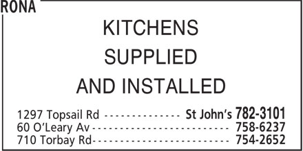 RONA (709-782-3101) - Display Ad - KITCHENS SUPPLIED AND INSTALLED