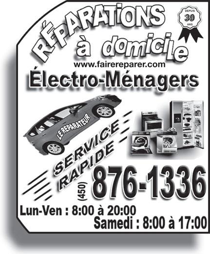Le Réparateur (450-442-1001) - Annonce illustrée======= - www.fairereparer.com www.fairereparer.com