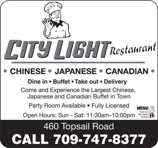 City Light Restaurant (709-747-8377) - Annonce illustrée======= -
