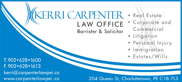 Carpenters Ricker (902-628-1600) - Display Ad - Corporate and Commercial Litigation Personal Injury Immigration Estates/Wills 204 Queen St, Charlottetown, PE C1B 7L3 Real Estate