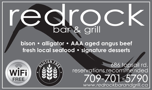 Redrock Bar And Grill (709-745-2767) - Annonce illustrée======= - GLUTEN FRE FREE