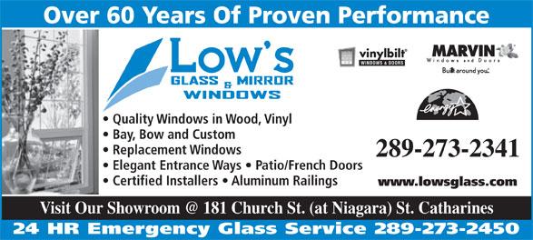 Low's Glass & Mirror Co Ltd (905-684-9427) - Display Ad -