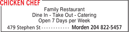 Chicken Chef Canada (204-822-5457) - Annonce illustrée======= - Family Restaurant Dine In - Take Out - Catering Open 7 Days per Week