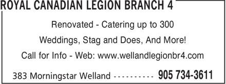 Ads Royal Canadian Legion Branch 4