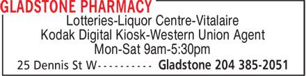 Gladstone Pharmacy (204-385-2051) - Display Ad - Lotteries-Liquor Centre-Vitalaire Kodak Digital Kiosk-Western Union Agent Mon-Sat 9am-5:30pm