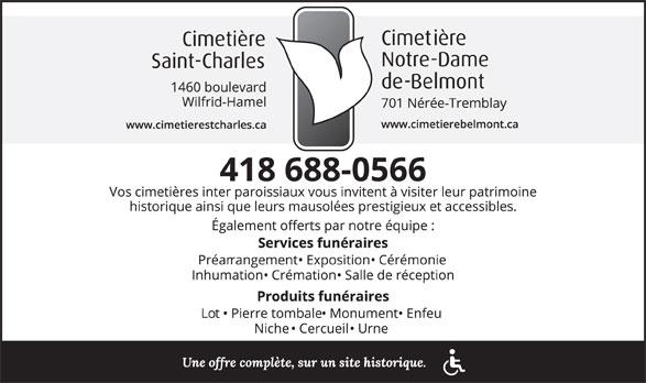 Cimetière St-Charles (418-688-0566) - Display Ad -