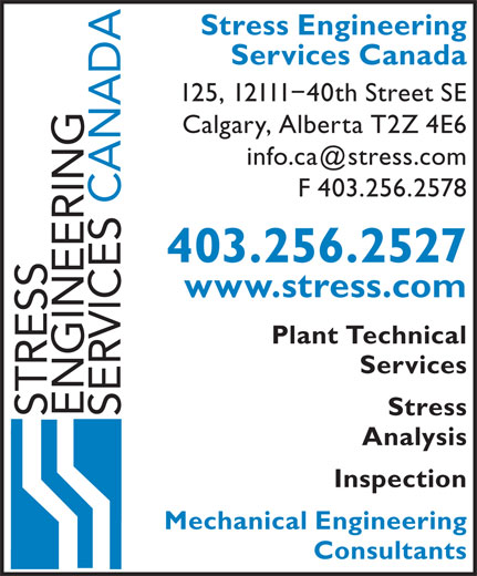 Stress Engineering Services Canada (403-256-2527) - Annonce illustrée======= -