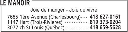 Restaurant Le Manoir (418-659-5628) - Annonce illustrée======= - Joie de manger - Joie de vivre
