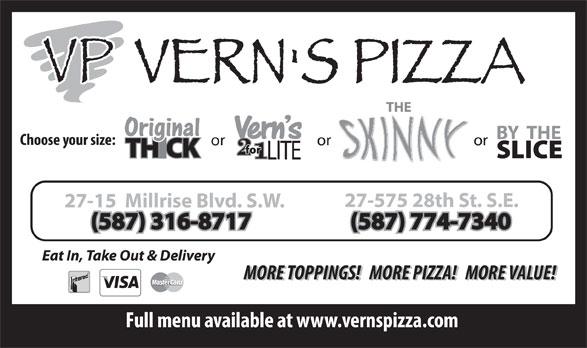 Vern's Pizza (403-508-0220) - Annonce illustrée======= - (587) 774-7340(587) 316-8717