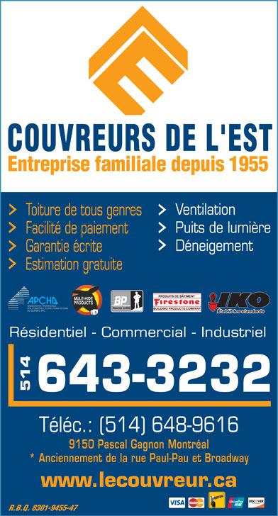 Couvreurs de l'Est (514-643-3232) - Annonce illustrée======= -