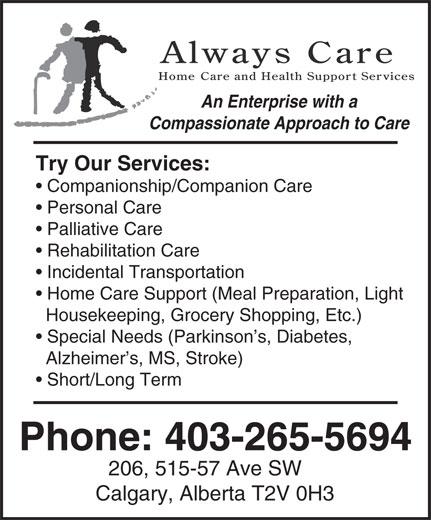 Always Care (403-265-5694) - Annonce illustrée======= -