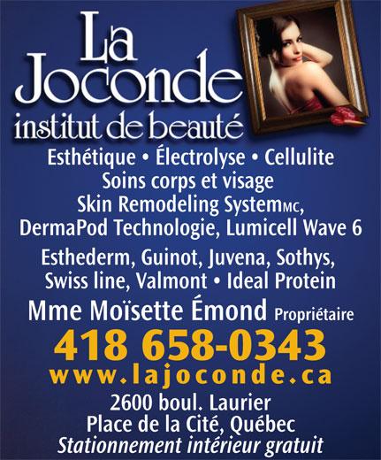 Institut de Beauté La Joconde Inc (418-658-0343) - Annonce illustrée======= -