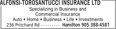 Alfonsi-Torosantucci Insurance Ltd (905-388-4581) - Annonce illustrée======= - Specializing in Business and Commercial Insurance Auto • Home • Business • Life • Investments