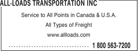 All Loads Transportation Inc (519-622-7200) - Annonce illustrée======= - Service to All Points in Canada & U.S.A. All Types of Freight www.allloads.com  Service to All Points in Canada & U.S.A. All Types of Freight www.allloads.com  Service to All Points in Canada & U.S.A. All Types of Freight www.allloads.com  Service to All Points in Canada & U.S.A. All Types of Freight www.allloads.com  Service to All Points in Canada & U.S.A. All Types of Freight www.allloads.com  Service to All Points in Canada & U.S.A. All Types of Freight www.allloads.com  Service to All Points in Canada & U.S.A. All Types of Freight www.allloads.com  Service to All Points in Canada & U.S.A. All Types of Freight www.allloads.com