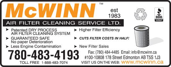 McWinn Air Filter Cleaning Service Ltd (780-483-4193) - Display Ad - Fax: (780) 484-4485  Email: info@mcwinn.ca #100-10808 178 Street Edmonton AB T5S 1J3 780-483-4193 www.mcwinn.ca