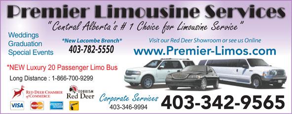 Premier Limousine Services (403-342-9565) - Annonce illustrée======= - Weddings Visit our Red Deer Showroom or see us Online *New Lacombe Branch* Graduation 403-782-5550 Special Events www.Premier-Limos.com 403-342-9565