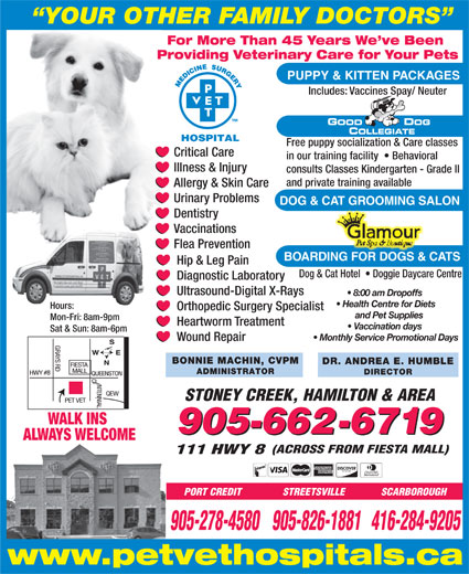 Pet Vet Hospitals (905-662-6719) - Annonce illustrée======= - YOUR OTHER FAMILY DOCTORS For More Than 45 Years We ve Been Providing Veterinary Care for Your Pets PUPPY & KITTEN PACKAGES Includes: Vaccines Spay/ Neuter Free puppy socialization & Care classes Critical Care in our training facility    Behavioral Illness & Injury consults Classes Kindergarten - Grade II and private training available Allergy & Skin Care Urinary Problems DOG & CAT GROOMING SALON Dentistry Vaccinations Flea Prevention BOARDING FOR DOGS & CATS Hip & Leg Pain Dog & Cat Hotel    Doggie Daycare Centre Diagnostic Laboratory Ultrasound-Digital X-Rays 8:00 am Dropoffs Health Centre for Diets Hours: STREETSVILLE SCARBOROUGH 905-278-4580905-826-1881416-284-9205 www.petvethospitals.ca Orthopedic Surgery Specialist and Pet Supplies Mon-Fri: 8am-9pm Heartworm Treatment Vaccination days Sat & Sun: 8am-6pm Monthly Service Promotional Days Wound Repair BONNIE MACHIN, CVPM DR. ANDREA E. HUMBLE ADMINISTRATOR DIRECTOR STONEY CREEK, HAMILTON & AREA WALK INS 905-662-6719 ALWAYS WELCOME (ACROSS FROM FIESTA MALL) 111 HWY 8 PORT CREDIT