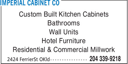 Imperial Cabinet Co (204-339-9218) - Annonce illustrée======= - Custom Built Kitchen Cabinets Bathrooms Wall Units Hotel Furniture Residential & Commercial Millwork