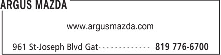 Argus Mazda (819-776-6700) - Display Ad - www.argusmazda.com