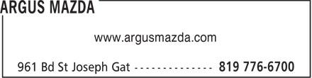 Argus Mazda (819-776-6700) - Annonce illustrée======= - www.argusmazda.com  www.argusmazda.com