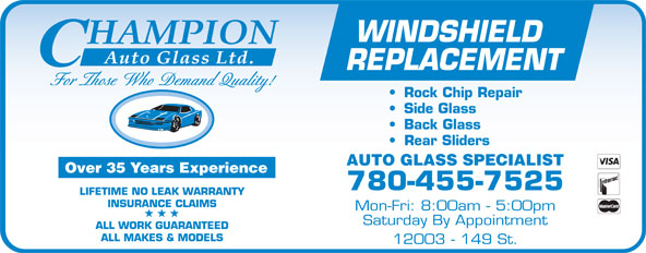Champion Auto Glass Ltd (780-455-7525) - Display Ad -