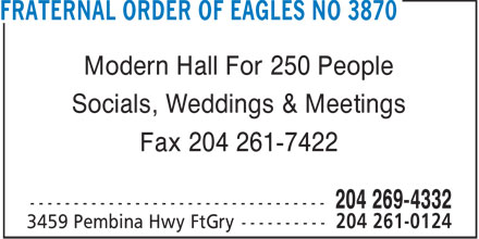 Fraternal Order Of Eagles Club No 3870 (204-261-0124) - Annonce illustrée======= - Modern Hall For 250 People Socials, Weddings & Meetings Fax 204 261-7422