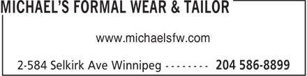 Michael's Formal Wear & Tailor (204-586-8899) - Annonce illustrée======= - www.michaelsfw.com