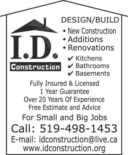 I D Construction (519-498-1453) - Annonce illustrée======= -